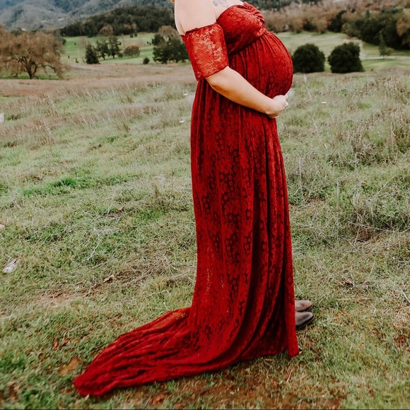 e4c4518b6f780 Dresses | Maternity Photo Shoot Burgundy Lace Maxi Dress | Poshmark